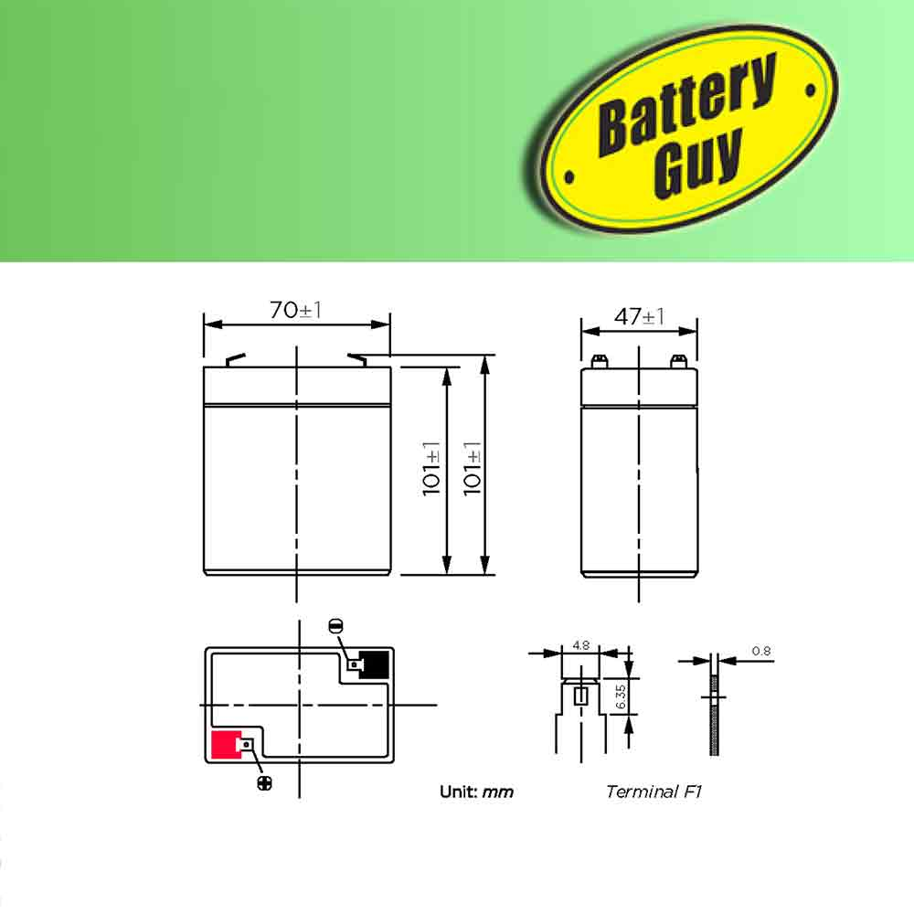 Dimensions - 6v 4.0Ah Rechargeable Sealed Lead Acid Battery