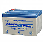 2 x Power-Sonic PS-1290 F2 | Rechargeable SLA Batteries 12v 9 Ah Emergency Light Battery