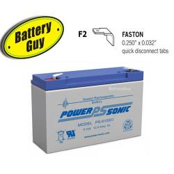 Power-Sonic PS-6100 F2   Rechargeable SLA Battery 6v 12Ah