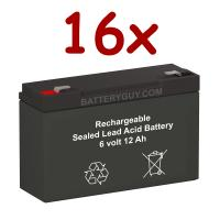 6v 12Ah High Rate Rechargeable Sealed Lead Acid Battery Set of Sixteen