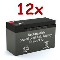 12V 9Ah Rechargeable Sealed Lead Acid High Rate Battery Set of Twelve
