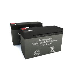 12v 7.5Ah Rechargeable Sealed Lead Acid High Rate Battery Set of Two