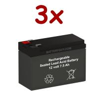 12v 7.5Ah Rechargeable Sealed Lead Acid High Rate Battery Set of Three