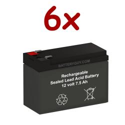 12v 7.5Ah Rechargeable Sealed Lead Acid High Rate Battery Set of Six