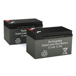 12v 12Ah Rechargeable Sealed Lead Acid High Rate Battery Set of Two