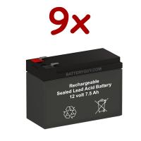 12v 7.5Ah Rechargeable Sealed Lead Acid High Rate Battery Set of Nine