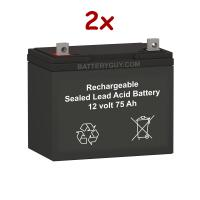 12v 75Ah Rechargeable Sealed Lead Acid (Rechargeable SLA) Battery | BG-12750NB (Qty of 2)