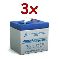 Power-Sonic PS-610 | Rechargeable SLA Battery 6v 1Ah (Qty of 3)