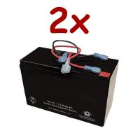 2 x 12v 7.5Ah Rechargeable High Rate SLA Battery with Wire Leads | BGH-1275F2WLFC(MALE P/ FEMALE N)