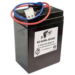 6v 4.5Ah Rechargeable Sealed Lead Acid (Rechargeable SLA) Battery with wire leads and A800ec Connector| BG-645F1WL
