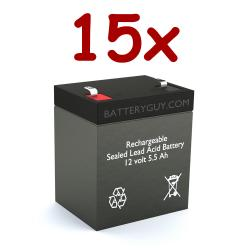 12v 5.5Ah Rechargeable Sealed Lead Acid High Rate Battery Set of Fifteen