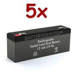 12v 2.9Ah Rechargeable Sealed Lead Acid (Rechargeable SLA) Battery | BG1229F1 (Qty of 5)
