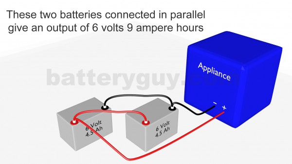 Two ampere hour batteries connected in parallel