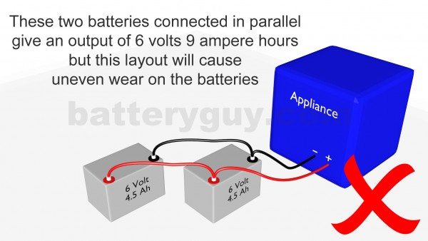 2 ampere hour batteries connected in parallel incorrectly