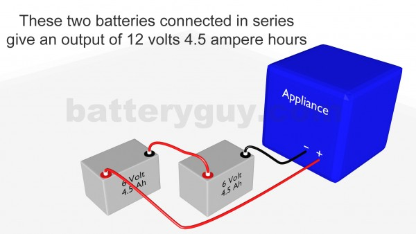 Two ampere hour batteries connected in series