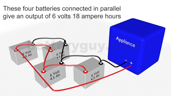 4 ampere hour batteries connected in parallel correctly