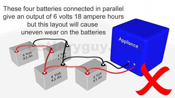 4 ampere hour batteries connected in parallel incorrectly