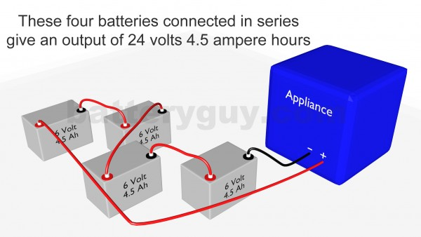 Four ampere hour batteries connected in series