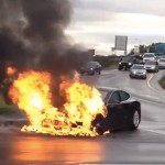 Tesla Model S car on fire
