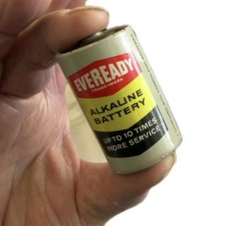 An early Eveready alkaline battery