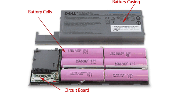 Opened laptop battery