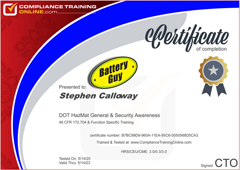 BatteryGuy Hazmat Shipping Certification